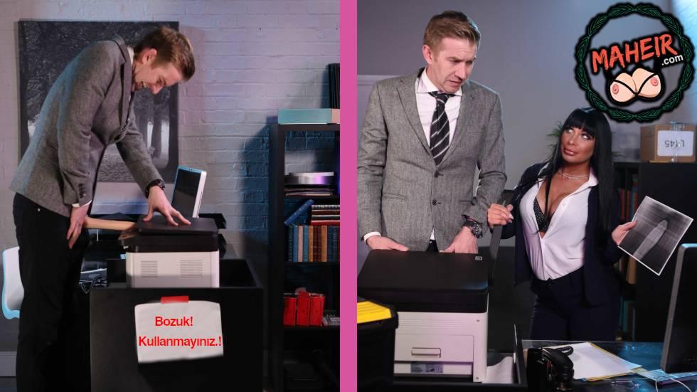 Sekreter Sikini Fotokopi Makinesine Sıkıştıran Patronuna Yardım Etti